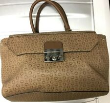 Guess Brown Satchel Shoulder Purse Monogram Large G Logo Handbag Bag