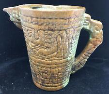 "Mayan Aztec Prairie Green Frankoma 7.5"" Pitcher 26939 Brown Pottery Vintage"