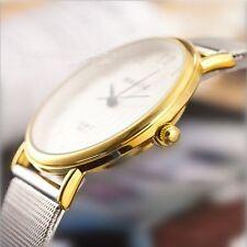 Men's Women's Fashion Luxury UltraThin Stainless Steel Band Quartz Wrist Watch