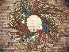"""24"""" Spring Floral Patriotic Red/White/Blue Twig & Star Wreath~Home/Floral/Decor"""