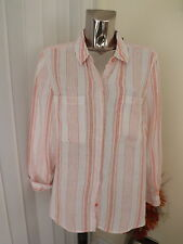 M&S WHITE CORAL ORANGE LONG SLEEVE LINEN SHIRT BLOUSE TOP SIZE 20 BNWT RP£27