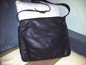 Wilson Large Black Leather Flap-Over Messenger Crossbody Bag