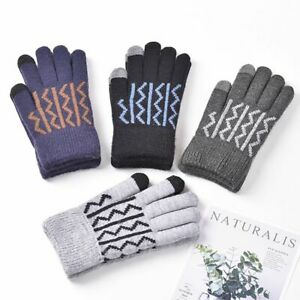 Touch Screen Gloves Stripe Windproof Warm Plush Elastic Outdoor Mittens