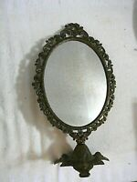 """Antique Vintage Victorian Style Ornate Brass 15"""" Oval Vanity Mirror Home Decor"""