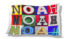 Personalized Pillowcase featuring NOAH in photo actual sign letters
