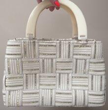 *M&G BERTINI* Women's Italian  VINTAGE Ivory Grey Gold Woven Purse Bag Lucite