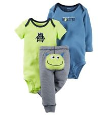 Carters Baby Boys 12 M 3 Pc Blue Little Monster/ Wild About Mommy, 12 M NWT
