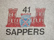 Vintage Mountain Sappers Army Military Crest Logo Gray T Shirt L