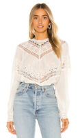 Free People Abigail Victorian Eyelet Top Ivory Peasant Boho Lace Blouse $128