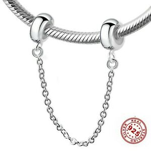 SAFETY CHAIN STOPPER Genuine 925 Sterling Silver Charm Fits European Bracelet