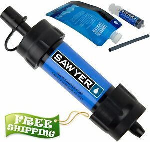 Sawyer Mini Water Filter Blue ( For Hiking, Everyday use, Inline hydration pack)