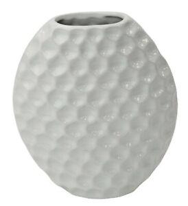 White Ceramic Oval Vase Round Honeycomb Design Decorative Table Flower Vase 24cm