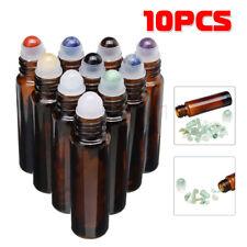 10pcs Amber Glass Essential Oil Gemstone Roller Balls Bottle 10ml w/ Decor Stone