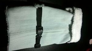 Hundejacke, Mantel ohne Knopf, Klett oder RV, Länge 26 cm, Jeans-Weiß