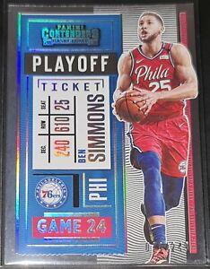 Ben Simmons 2020-21 Contenders PLAYOFF TICKET PARALLEL Insert Card (#'d 019/249)