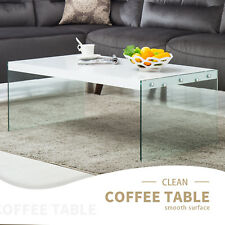 Wood Surface + Glass Stand Modern Design Coffee Table Living Room Furniture