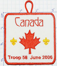 CANADA BOY SCOUT BSA TROOP 58 JUNE 2006 PATCH