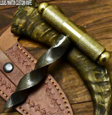 LOUIS MARTIN CUSTOM HANDMADE DAMASCUS ART KRIS BLADE BOOT KNIFE ICE PICK BRASS
