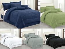 luxury hotel 7pc comforter set embossed solid bedding king queen full 5 colors