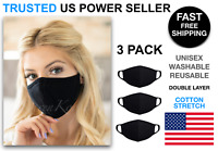 3 Pack Black Face Mask Cotton Double Layer Cover Washable Reusable Unisex USA