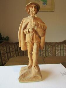"""Wooden Carved Statues 11"""" Tall Playing a Bagpipe Goat  Koza Polish Folk Musical"""