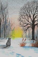 LE #1 4X6 POSTCARD RYTA VINTAGE STYLE ART XMAS GRAY CAT WINTER LANDSCAPE SUNRISE