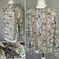 Laura Ashley Womens Floral Long Sleeve Top Blouse Size 14