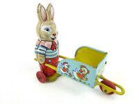 Vintage Tin Toy Easter Bunny Wheel Barrow Wheelbarrow Cart J.Chein & Co USA