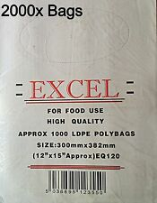 """2000x EXCEL CLEAR PLASTIC LDPE FOOD POLY BAGS 12""""x15"""" 120G (2x BOX)"""