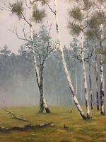 Birch Trees in New England Morning Fog Vintage Painting 12X16 Signed Canvas 1975