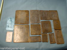 14 x FD alte Merkenthaler Monogramme, Kupfer Schablonen,Stencils,Patrons broder