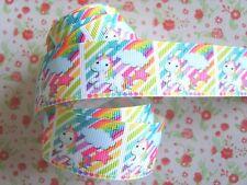 1M x Cute Rainbow Baby Unicorn Star Printed Grosgrain Ribbon Craft Bow 25mm wide