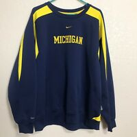 Michigan Wolverines Pullover Sweatshirt Nike Therma Fit Navy Blue&Yellow Size L
