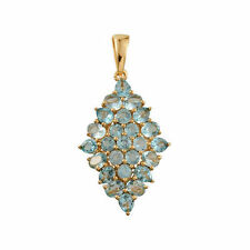 Paraibe Apatite (Ovl) Cluster Pendant 14K Gold Overlay Sterling Silver 3.75 cts