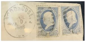 1886 Rare Ben Franklin 1 Cent Blue Stamp Used 2 Stamps Striped Canceled Stamped