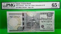 MONEY EGYPT 20 POUND 2016 CENTRAL BANK PMG GEM UNC PICK UNLISTED