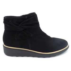 Clarks Collection Suede Ankle Boots with Bow Sharon Salon Black