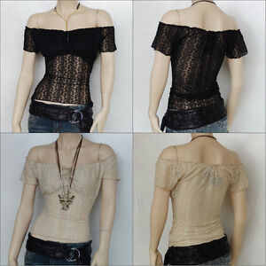 Sexy Womens Ladies Unique Black Lace Gypsy Off Shoulder Cap Sleeve Top TP9197