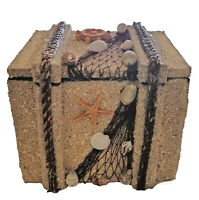 "Shell and Sand Trinket Box 4""H Beach Chest Nautical Beach Jewelry Bathroom Decor"