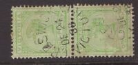 Victoria nice CRESWICK 1888 unframed postmark on QV 1d green pair