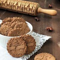 Christmas Snowflake Embossing Rolling Pin Baking Cookies Biscuit Fondant Cake