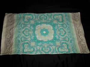 Pottery Barn Claire Scarf Print King Pillow Sham Pair Medallion Paisley Gray