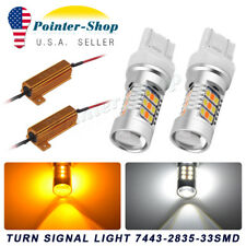 2x 7443 7440 33 SMD 2835 Chip Switchback LED Turn Signal Light Bulbs+Resistors