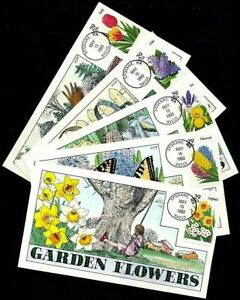 2760-4 29c Stamps (1993) FLOWER GARDENS FDC Hand Painted By Fred Collins