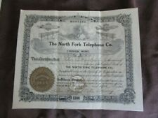 The North Fork Telephone Co Chinook Montana 1912  Stock Certificate