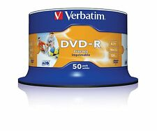 50 DVD-R Printable Verbatim Imprimibles 4.7 GB 10 25 100 DVD CD -R +R Wide Full