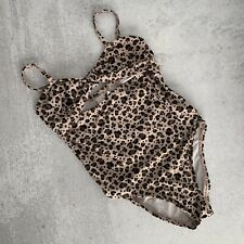 Cotton On Girls Blush Pink/Nude Cheetah Print Tie Front Swimsuit