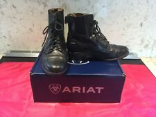 Ariat Paddock Back Zip Leather Lace Up Black Equestrian Riding Boots Womens 6B E