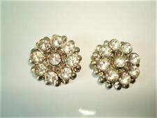 Pair of Vintage Silver Tone Shoe Clips With Clear Rhinestones 7/8 In.