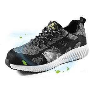 SAFETOE Work Safety Shoes Flyknit Steel Toe Extra Wide Sports Fashion relaxation